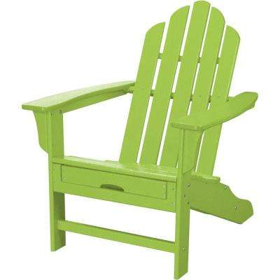 All Weather Patio Adirondack Chair With Hide Away Ottoman In Lime Green