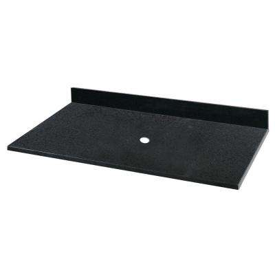 25 in. Granite Vessel Vanity Top in Black without Basin