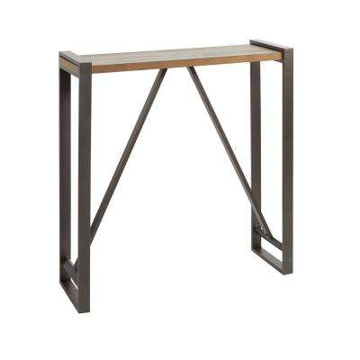 Boston Slim Gunmetal Gray and Brown Console Table