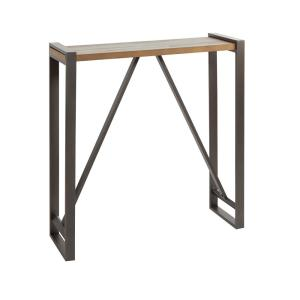 Phenomenal Boston Slim Gunmetal Gray And Brown Console Table Caraccident5 Cool Chair Designs And Ideas Caraccident5Info