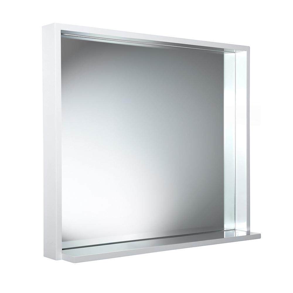 Fresca Allier 29.50 in. W x 25.50 in. H Framed Wall Mirror with Shelf in White