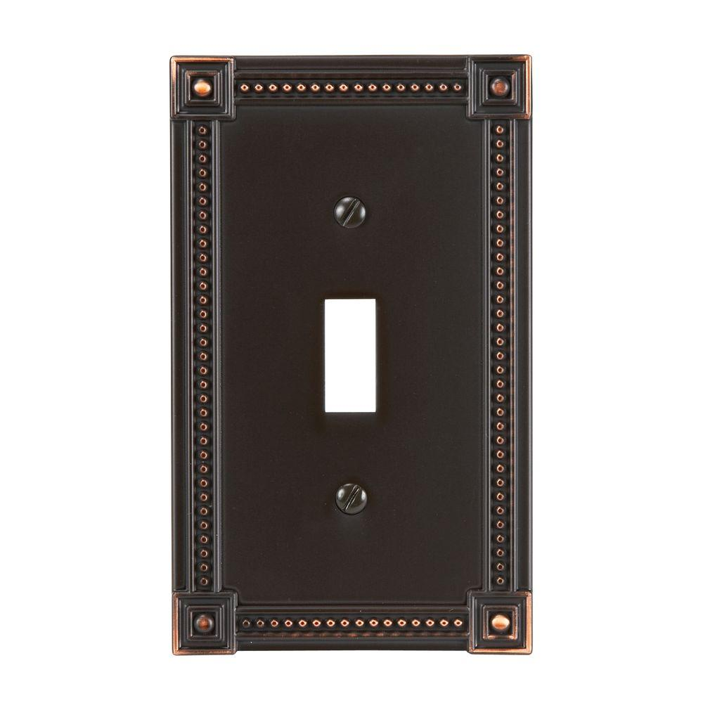 Amerelle Traditional 1 Toggle Wall Plate - Aged Bronze