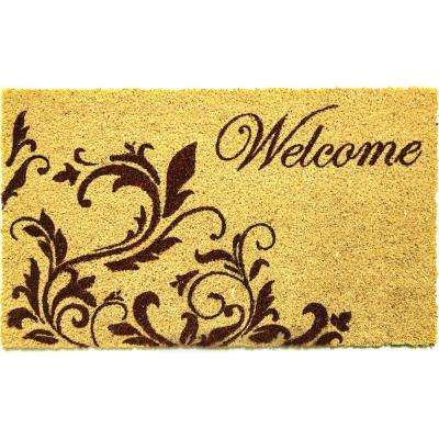 Cascade Welcome Ivory 18 in. x 30 in. Door Mat