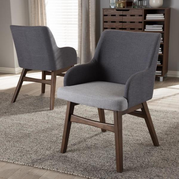 Baxton Studio Monte Gray Fabric Upholstered Dining Chairs (Set of 2)