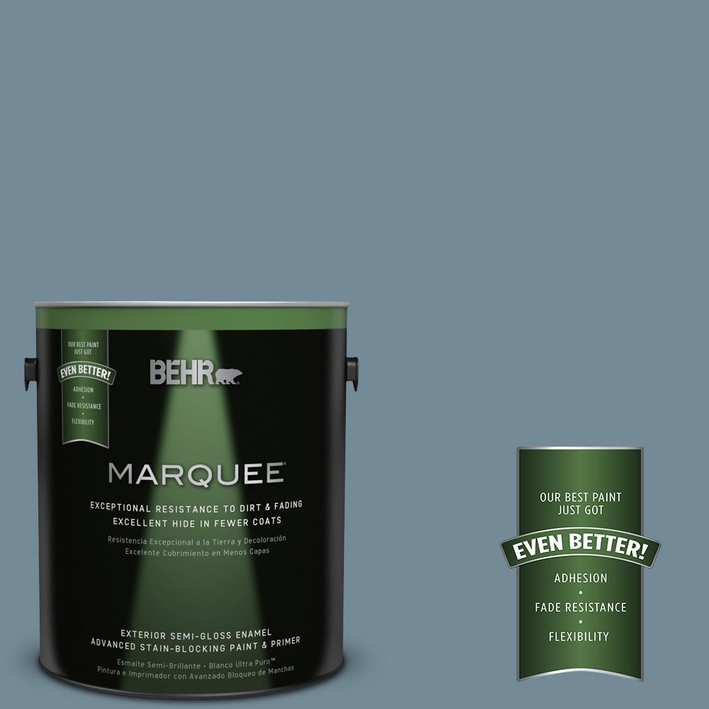 BEHR MARQUEE 1-gal. #QE-54 Shaker Blue Semi-Gloss Enamel Exterior Paint