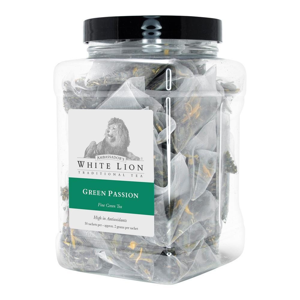 Tea Green Passion 50 Bulk Sachet Food Service Canister Tea Bags Sachets (50 per Pack)