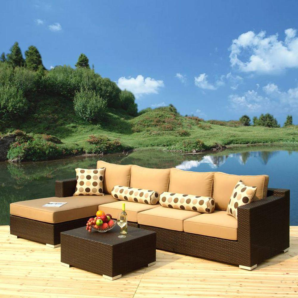 Caico Outdoor Furniture Naples 4-Piece Woven Wicker Patio Sectional Sofa Set-DISCONTINUED