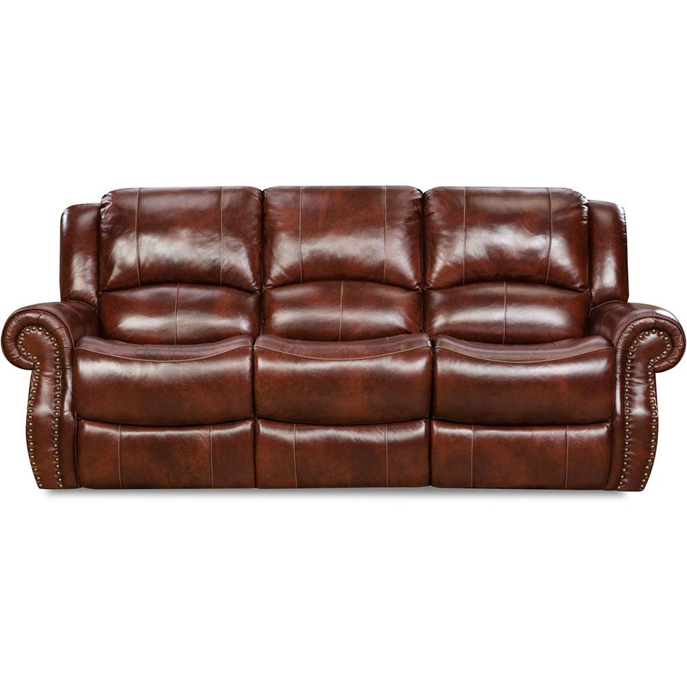 Cambridge Oxblood Telluride Leather Double Reclining Sofa 98528drs