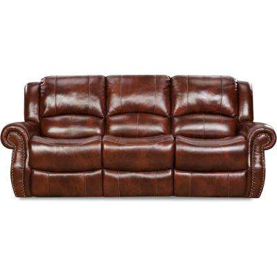 Oxblood Telluride Leather Double Reclining Sofa