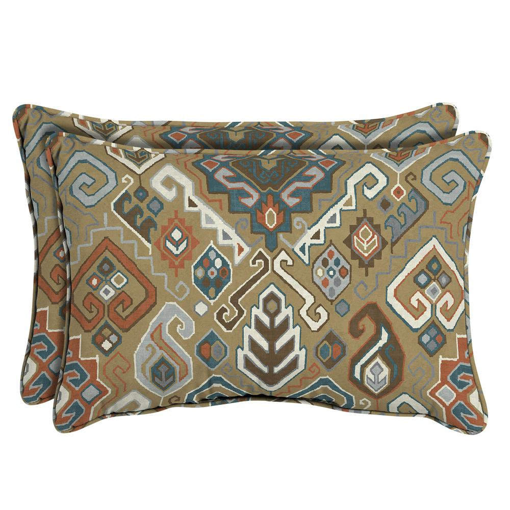 Hampton bay southwest toffee oversized lumbar outdoor throw pillow 2 pack