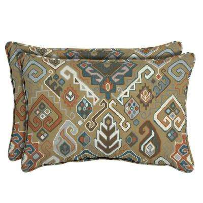 Southwest Toffee Oversized Lumbar Outdoor Throw Pillow (2-Pack)