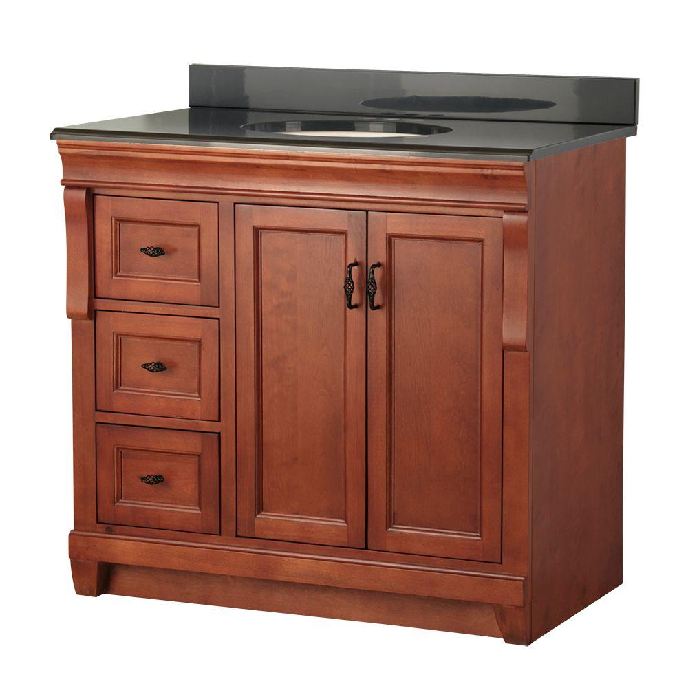 Foremost Naples 37 in. W x 22 in. D Vanity in Warm Cinnamon with Left Drawers with Colorpoint Vanity Top in Black