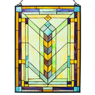 Multi-Colored Stained Glass Geometric Window Panel