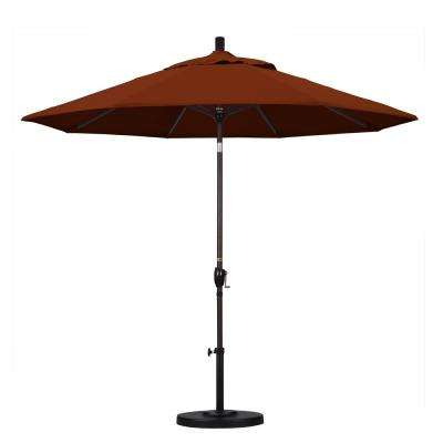 9 ft. Aluminum Push Tilt Patio Umbrella in Brick Pacifica