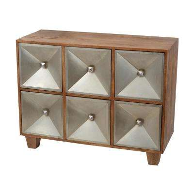 Spencer 30 in. x 39 in. 6-Drawer Natural Wood and German Silver Chest