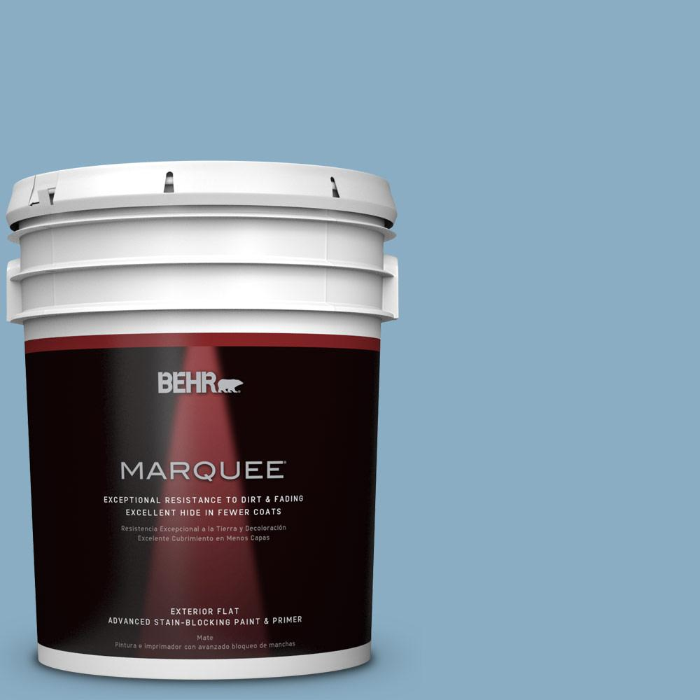 BEHR MARQUEE 5-gal. #S500-4 Chilly Blue Flat Exterior Paint