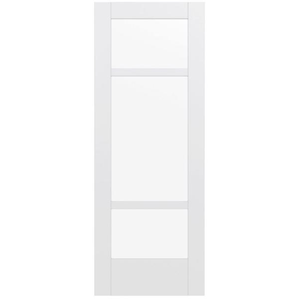 32 in. x 80 in. MODA Primed PMC1031 Solid Core Wood Interior Door Slab w/Clear Glass