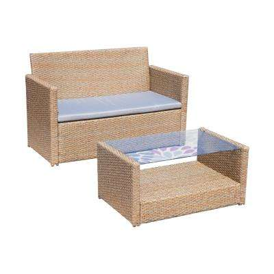 2-Piece Wicker Patio Conversation Set with Gray Cushions