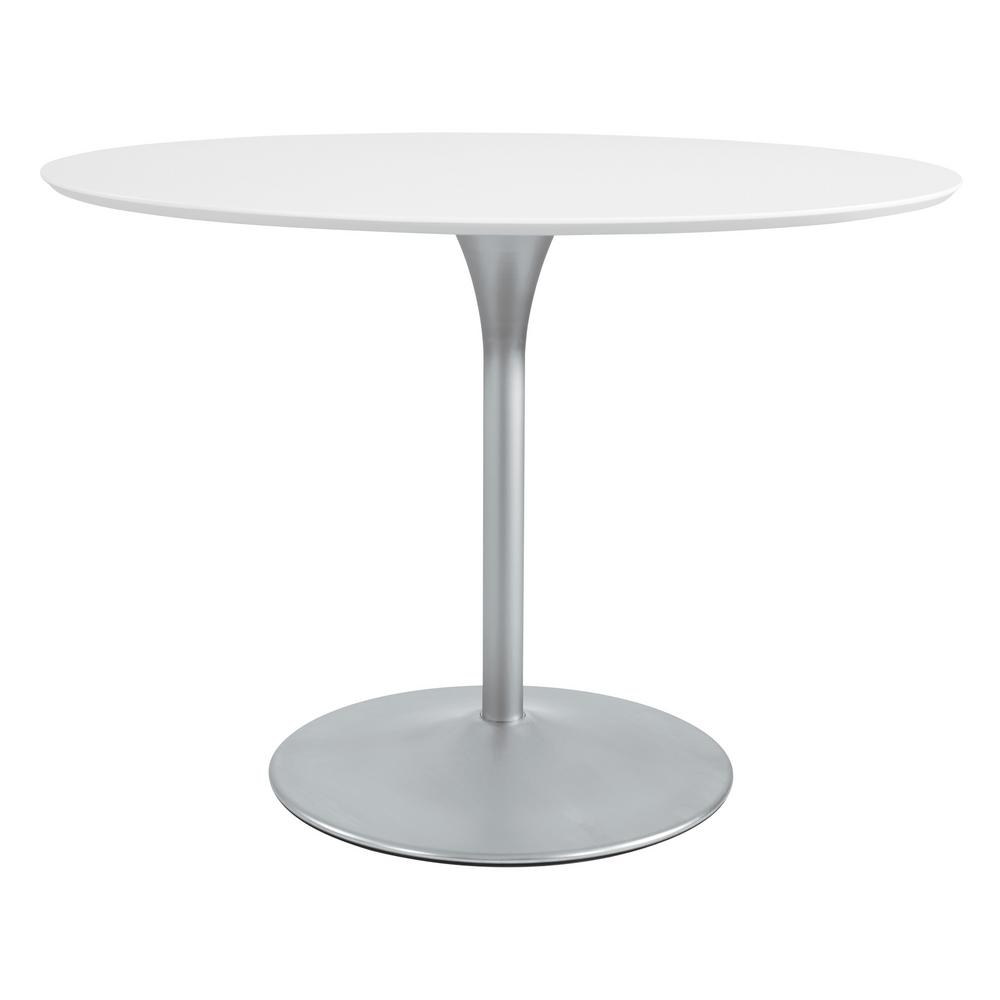OSP Home Furnishings Flower Dining Table with White Top and Brushed Nickel Base, White/Brushed Nickel OSP Home Furnishings Flower Dining Table with White Top and Brushed Nickel Base, White/Brushed Nickel.