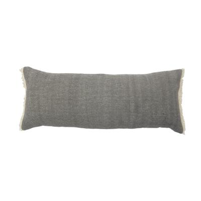 Calm Charcoal Gray Solid Fringed Soft Poly-fill Rectangle 14 in. x 36 in. Throw Pillow