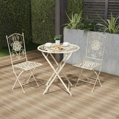 3-Piece Metal Folding Outdoor Bistro Set with Lattice and Flower Design in Antique White