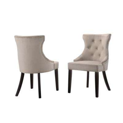 Julia Gray Velvet Upholstered Tufted Back Nail Head Chair (Set of 2)
