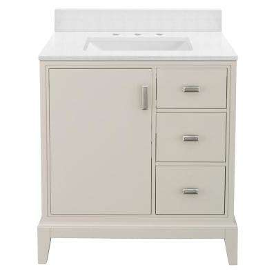 Shaelyn 31 in. W x 22 in. D Bath Vanity in Rainy Day RH with Engineered Marble Vanity Top in Snowstorm with White Sink