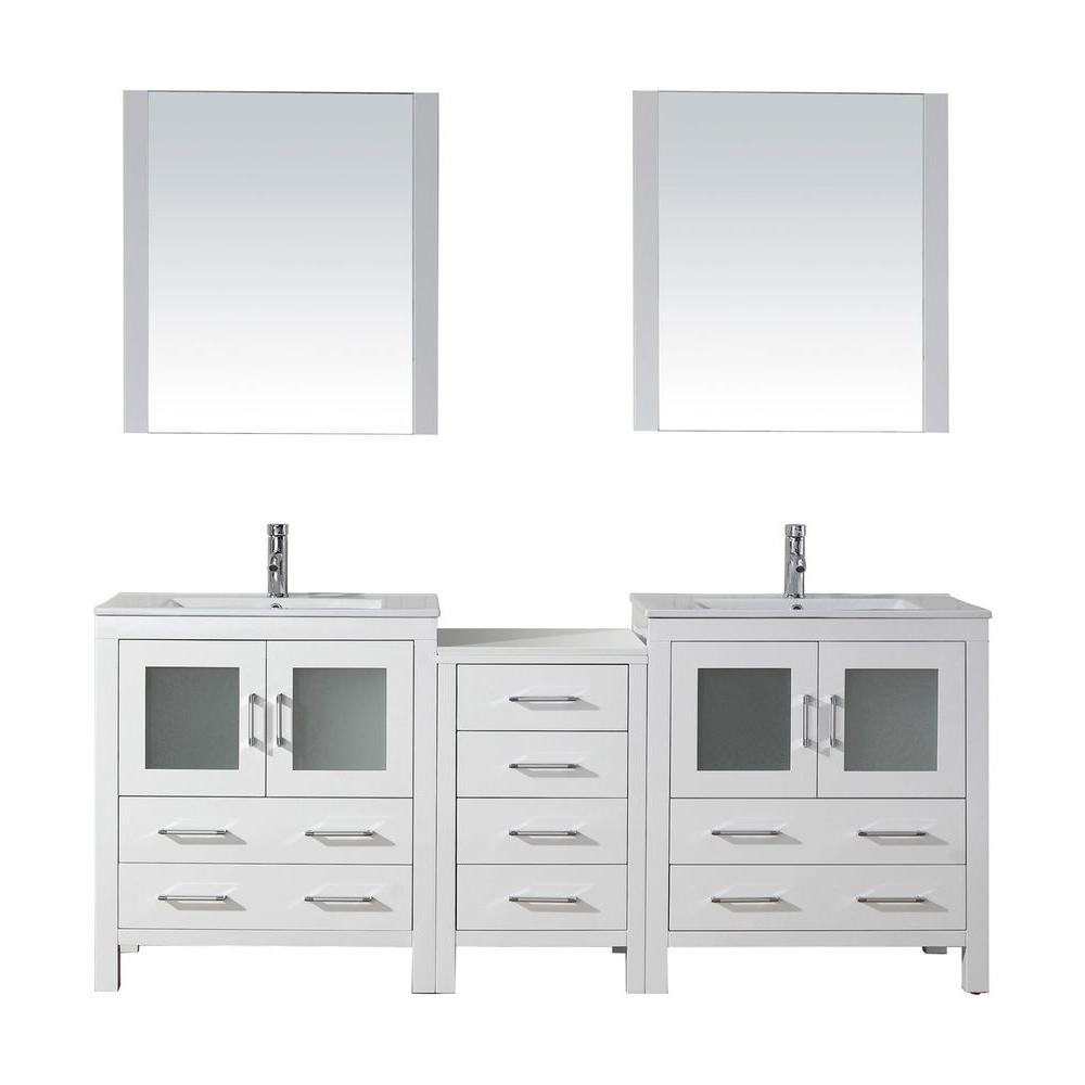 Virtu USA Dior 79 in. W Bath Vanity in White with Ceramic Vanity Top in Slim White Ceramic with Square Basin and Mirror and Faucet