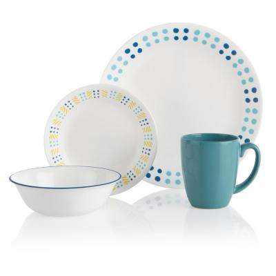 16-Piece Coastal Key West Glass Dinnerware Set (Service for 4)