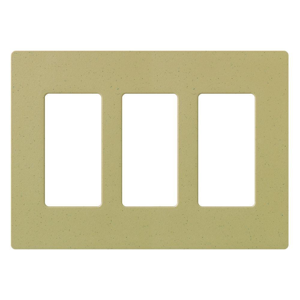 lutron claro 3 gang decora wall plate mocha stone sc 3 ms the home depot. Black Bedroom Furniture Sets. Home Design Ideas