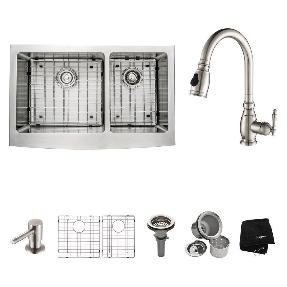 KRAUS All-in-One Farmhouse Apron Front Stainless Steel 33 in. Double Bowl Kitchen Sink with Faucet in Stainless Steel