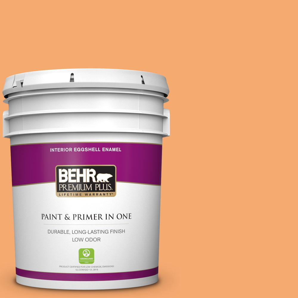Behr Premium Plus 5 Gal P230 5 Florida Sunrise Eggshell Enamel Low Odor Interior Paint And Primer In One 240005 The Home Depot