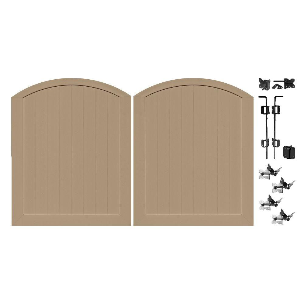 Veranda Pro Series 5 ft. W x 6 ft. H Vinyl Anaheim Adobe Privacy Double Drive Through Arched Fence Gate