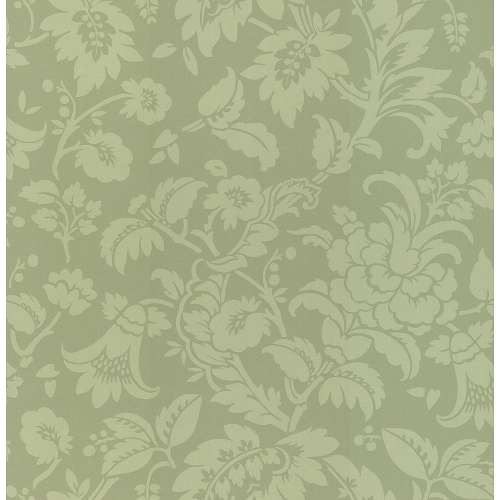 Brewster Madison Green Tonal Floral Wallpaper Sample