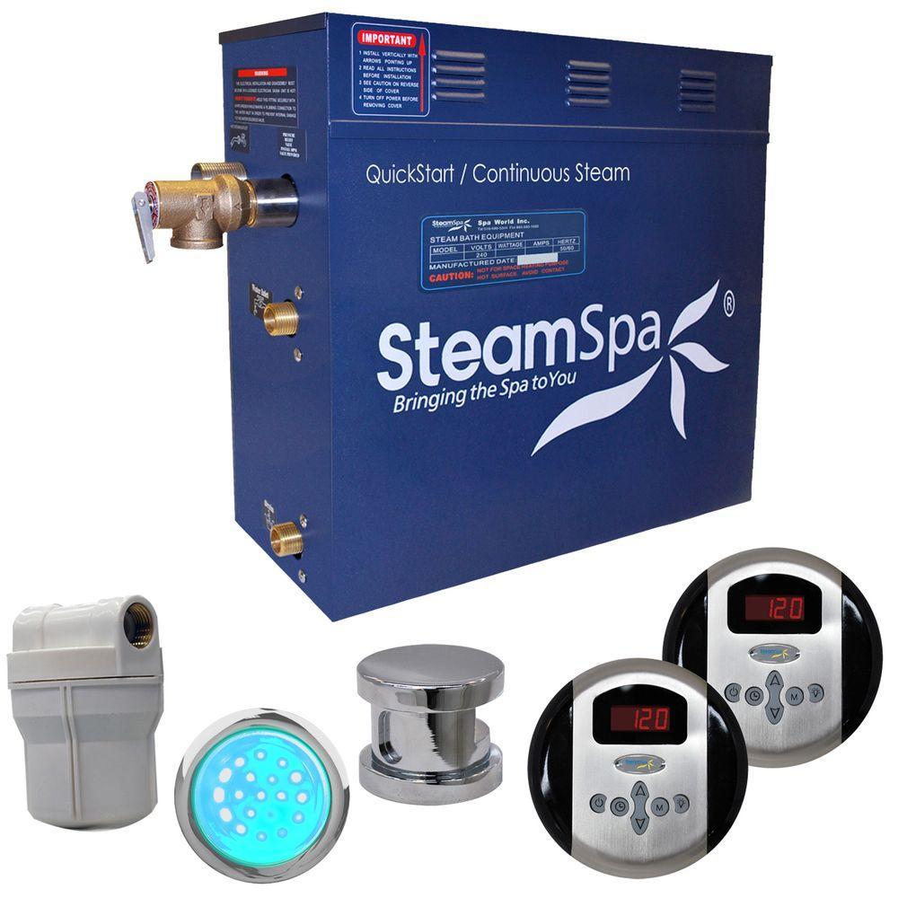 SteamSpa Royal 7.5kW Steam Bath Generator Package in Chrome