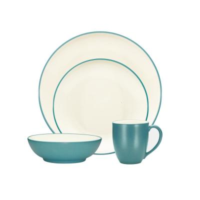 Colorwave Coupe 4-Piece Casual Turquoise Stoneware Dinnerware Set (Service for 1)
