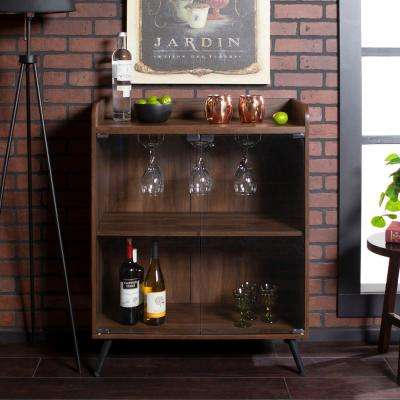 30 in. Dark Walnut Glass Door Bar Cabinet with Metal Legs