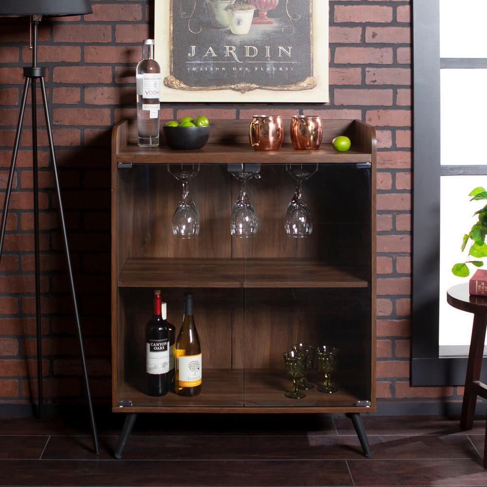 30 in. Dark Walnut Glass Door Bar Cabinet with Metal Legs