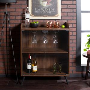 Deals on Walker Edison 30-in Dark Walnut Glass Door Bar Cabinet