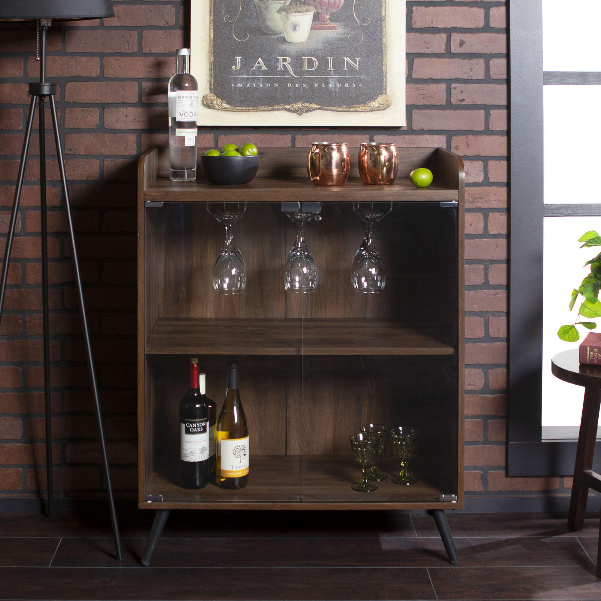 Walker Edison Furniture Company 30 in. Dark Walnut Glass Door Bar Cabinet