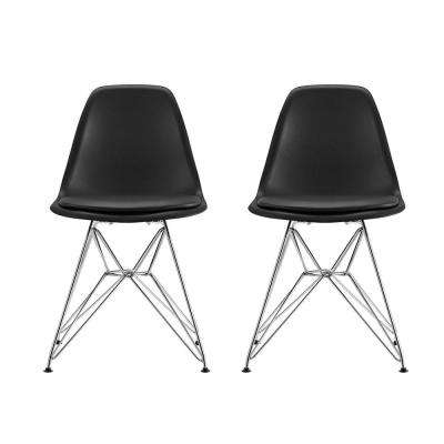 Alba Black Mid Century Modern Molded Chair with Upholstered Seat (Set of 2)