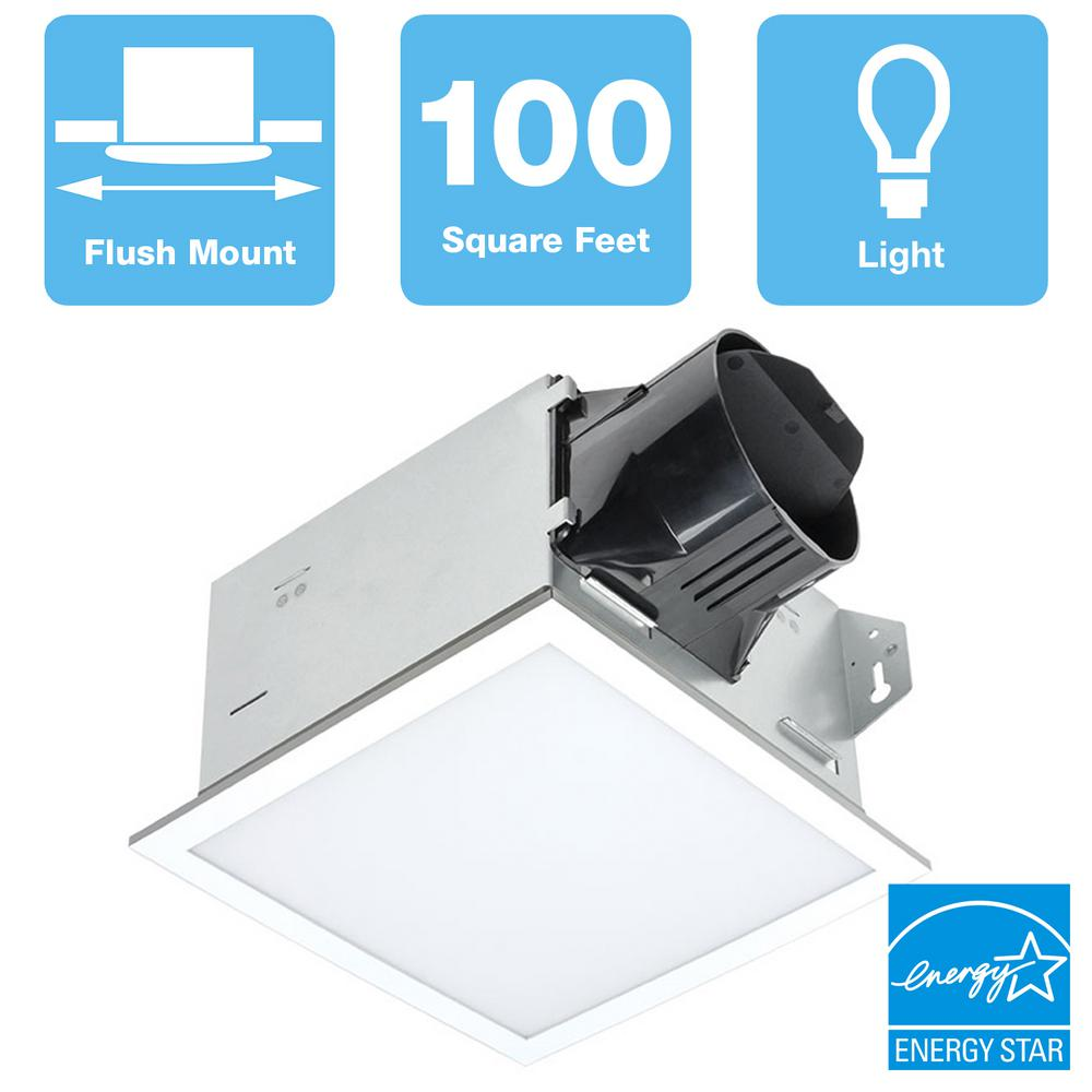 DeltaBreez Delta Breez 100 CFM Integrity Bathroom Exhaust Fan with Edge-Lit Dimmable LED Light, White
