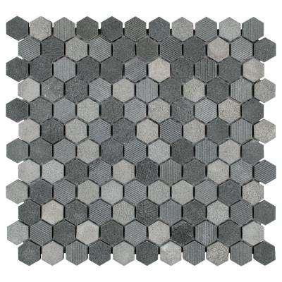 Structure Hex Black 11 in. x 11-5/8 in. x 8 mm Natural Lava Stone Mosaic Tile