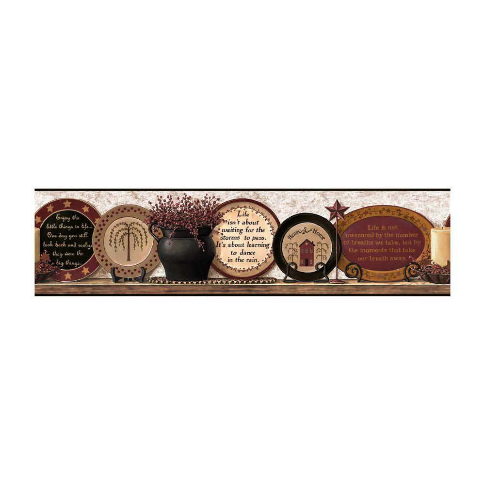 3 Colors Option For Country Kitchen Wallpaper: York Wallcoverings Best Of Country Country Plates