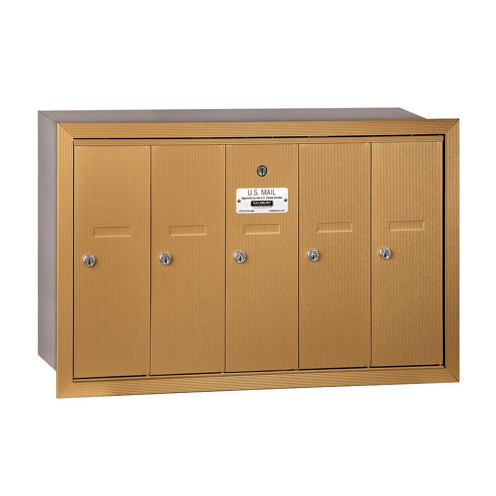 Salsbury Industries 3500 Series Brass Recessed-Mounted Private Vertical Mailbox with 5 Doors