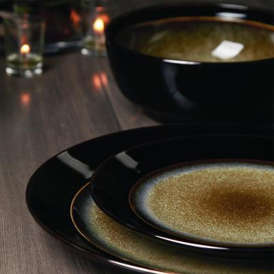 Bella Galleria 16-Piece Taupe and Black Dinnerware Set