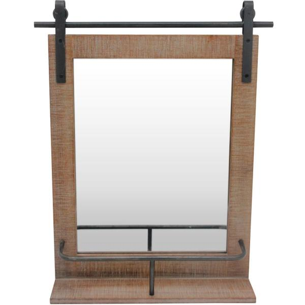 Firstime Co 25 In X 20 In Ingram Barn Door Mirror With Shelf 70087 The Home Depot