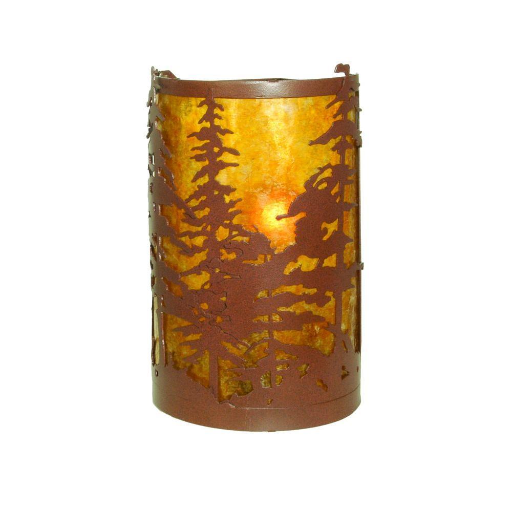 Illumine 2 Light Tall Pines Corner Wall Sconce Rust Finish Mica Glass