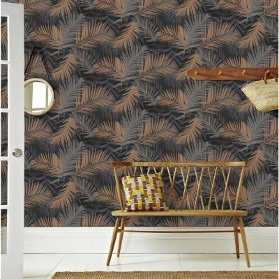 Jungle Glam Black and Copper Removable Wallpaper Sample