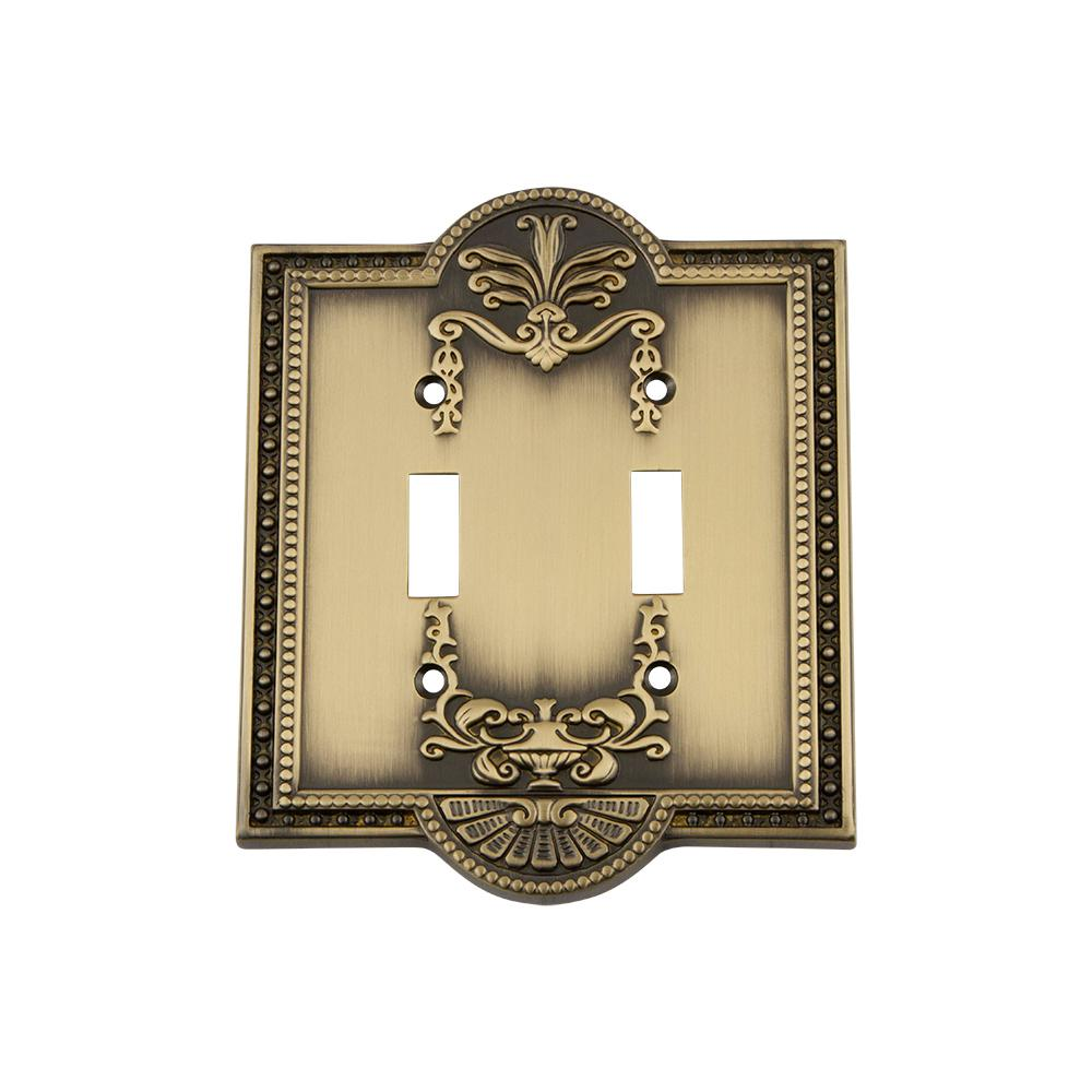 Meadows Switch Plate with Double Toggle in Antique Brass